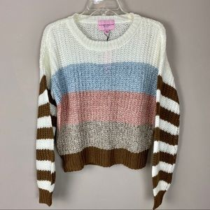 Size Med color block sweater pink brown blue